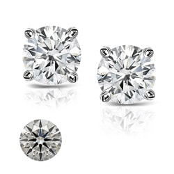 Platinum 2ct TDW Heart and Arrow Diamond Stud Earrings (H-I, SI1-SI2)