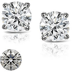 Platinum 1ct TDW Hearts and Arrows Diamond Stud Earrings (E-F, SI1-SI2)