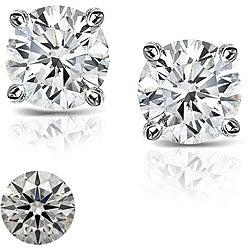 Platinum 5/8ct TDW Hearts and Arrows Diamond Stud Earrings (J-K, SI1-SI2)
