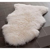 Natural Pelt Sheepskin Wool White Shag Rug - 2' X 3'