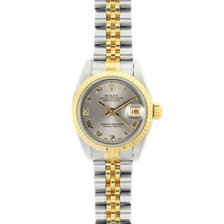 Pre-owned Rolex Women's Datejust Two-Tone Grey Roman Dial Watch