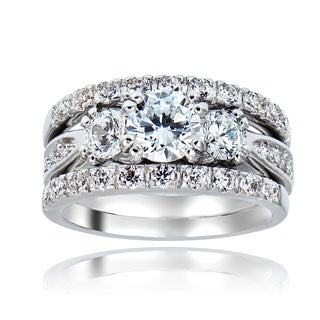 Icz Stonez Rhodiumplated Cubic Zirconia 4ct TGW Bridal Ring Set (3 options available)