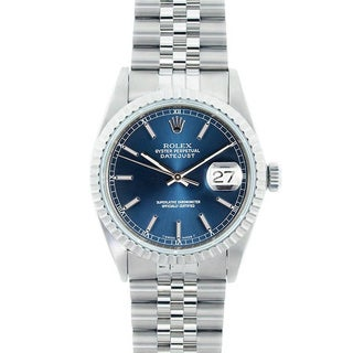 Pre-Owned Rolex Men's Datejust Stainless Steel Blue Dial Watch Model 16220