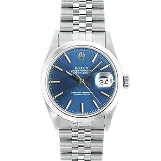 Pre-owned Rolex Men's Model 16030 Datejust Blue Dial Watch with Stainless Steel Bracelet