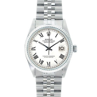 Pre-owned Rolex Men's Stainless Steel Datejust Watch White Dial 18k White Gold Bezel