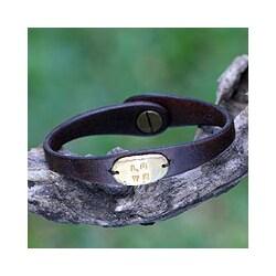 Handmade Gold Overlay 'Love' Leather Bracelet (Indonesia)