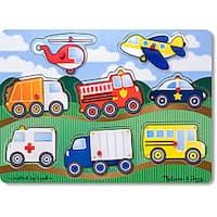 Melissa & Doug Wooden Vehicles Peg Puzzle