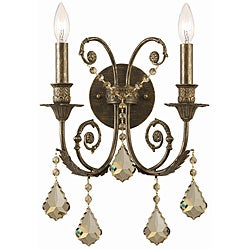 Crystorama Regis 2-Light English Bronze Wall Sconce