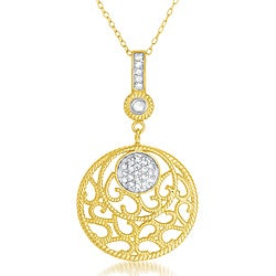Collette Z Goldplated Sterling Silver Clear Cubic Zirconia Lace Design Necklace