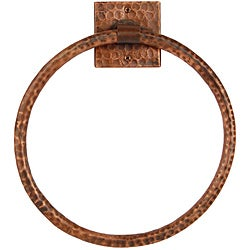 10-inch Hand-hammered Copper Full Size Bath Towel Ring