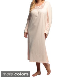 La Cera Women's Plus Size Long Sleeve Crochet Yoke Nightgown