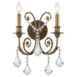 Crystorama Regis Collection 2-light English Bronze Wall Sconce