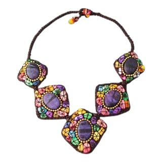 Multicolor Mother of Pearl and Purple Howlite Cotton Necklace (Thailand)