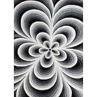 Alliyah Handmade White Flowers New Zealand Blend Wool Rug - 5' x 8'
