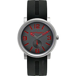 Hush Puppies Men's Black/ Red Dial Silicon Strap Watch