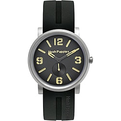 Hush Puppies Men's Black/ Beige Dial Silicon Strap Watch