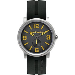 Hush Puppies Men's Black/ Orange Dial Silicon Strap Watch
