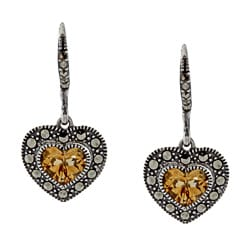 Sterling Silver Honey Citrine and Marcasite Heart Earrings