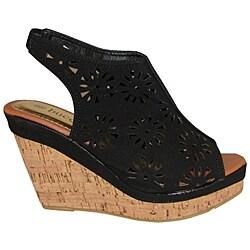 Bucco Women's Black Cutout Slingback Wedge Sandals
