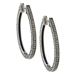 Sterling Silver Marcasite Oval Hoop Earrings