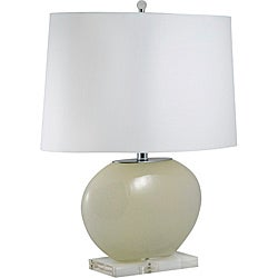 Mouth Blown Cream Oval Glass Lamp (Pack of 2)