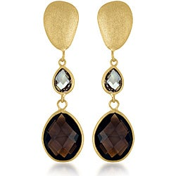 Collette Z Gold over Silver Brown/ Champagne Crystal Quartz Matte Dangle Earrings