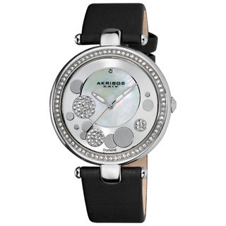 Akribos XXIV Women's Quartz Diamond Crystal Black Strap Watch