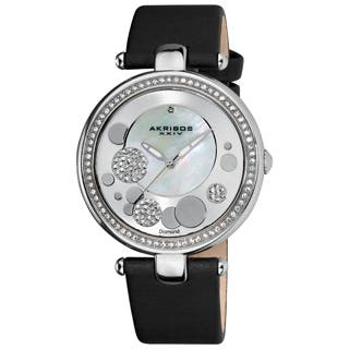 Akribos XXIV Women's Quartz Diamond Crystal Black Strap Watch with FREE GIFT|https://ak1.ostkcdn.com/images/products/P14026542L.jpg?impolicy=medium