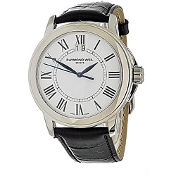 Raymond Weil Men's Tradition Black Leather Strap Watch