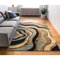Nirvana Waves' Blue, Beige, Green, Black, and Tan Modern Contemporary Abstract Geometric Area Rug - 5'3 x 7'3
