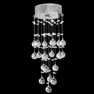 Somette Chrome 1-Light Teardrop-Shaped Crystal Chandelier
