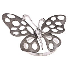 Sterling Silver Sandblasted Large Butterfly Ring
