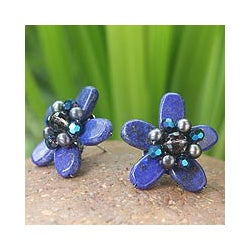 Lapis Lazuli 'Phuket Flowers' Pearl Earrings (3.5-4 mm) (Thailand)