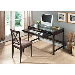 Idabel Dark Brown Wood Modern Desk with Glass Top
