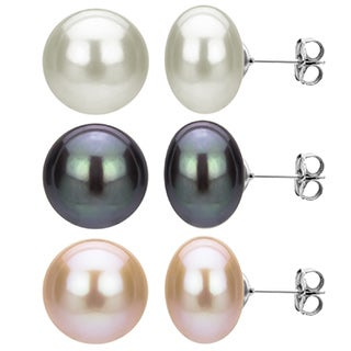 DaVonna 3 pairs Sterling Silver 11-12mm Pink Black and White Freshwater Pearl Stud Earrings Set