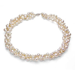DaVonna Sterling Silver White Freshwater Pearl 3-row Twisted Necklace (4-8mm) (5 options available)