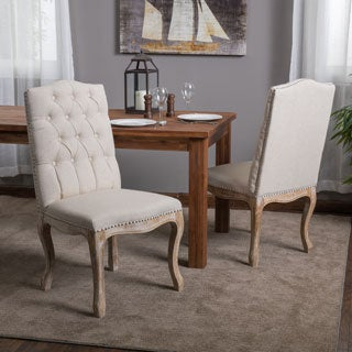 Weathered Hardwood Studded Beige Dining Chair (Set of 2) by Christopher Knight Home