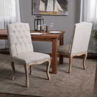 Weathered Hardwood Studded Beige Dining Chair  Set of 2  by Christopher  Knight Home. Dining Room   Kitchen Chairs For Less   Overstock com