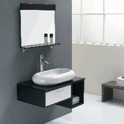 Solid Oak White and Black 31.4-inch Ceramic Bathroom Vanity