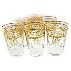 Handmade Berber Gold Moroccan Hand-painted Tea Glasses (Morocco) - Thumbnail 0