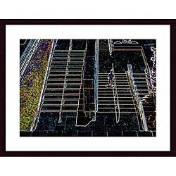 John K. Nakata 'Stairs' Wood Framed Art Print