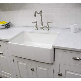 Fine Fixtures Fireclay Sutton 23 25 Inch White Farmhouse Kitchen Sink