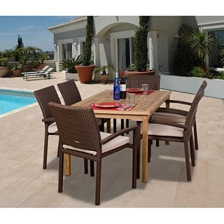 Amazonia Teak Charlotte 7-piece Teak/ Wicker Dining Set