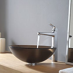Kraus Frosted Brown Glass Vessel Sink and Virtus Faucet Chrome