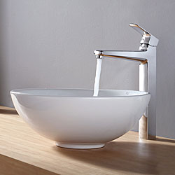 KRAUS Soft Round Ceramic Vessel Sink in White with Virtus Faucet in Chrome