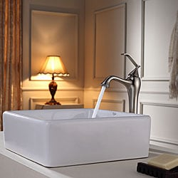 KRAUS Square Ceramic Vessel Sink in White with Ventus Faucet in Brushed Nickel