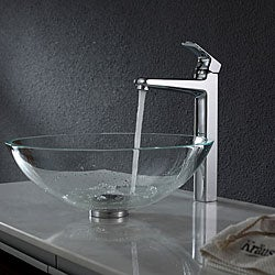 Kraus Crystal Clear Glass Vessel Sink and Virtus Faucet Chrome