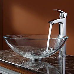 KRAUS Glass Vessel Sink in Crystal Clear with Visio Faucet in Chrome