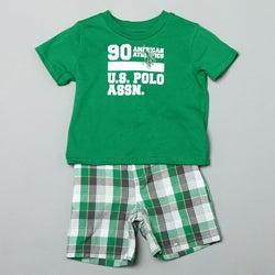 US Polo Toddler Boy's Graphic Tee and Plaid Shorts