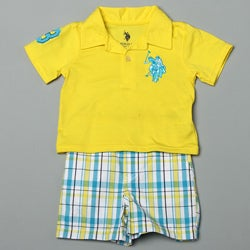 US Polo Infant Boy's Polo with Plaid Shorts
